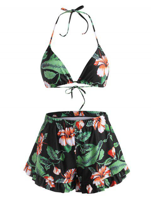 Halter Floral Leaf Ruffled Tropical Boyshorts Bikini Swimwear