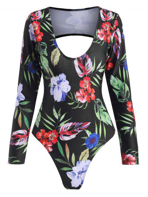 Floral Leaf Cutout Back Long Sleeve One-piece Swimsuit