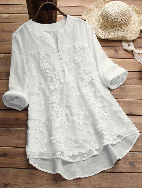 Plus Size High Low Embroidered Tunic Blouse
