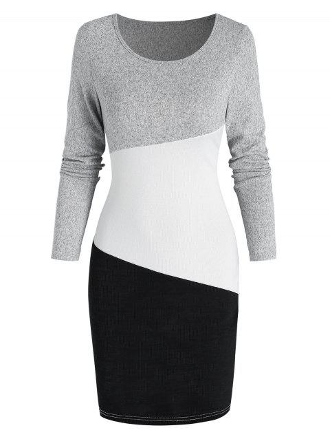 Long Sleeve Contrast Sheath Sweater Dress