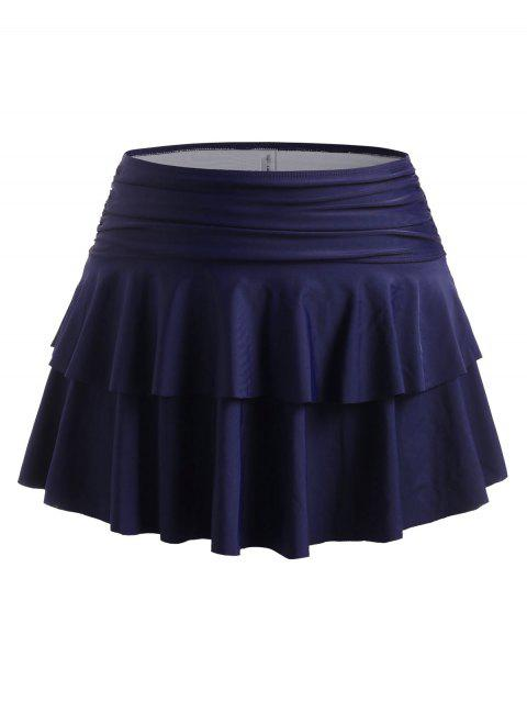 Plus Size Ruched Tiered Flounce Bikini Bottom with Skirt