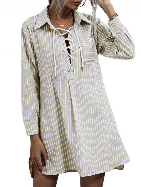 Striped Front Pocket Lace-up Shirt Dress