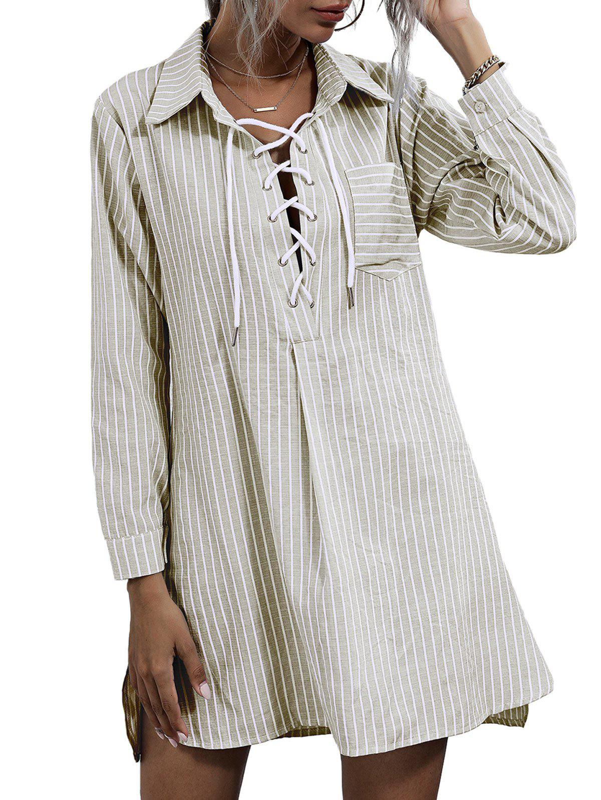Striped Front Pocket Lace-up Shirt Dress - LIGHT COFFEE XL