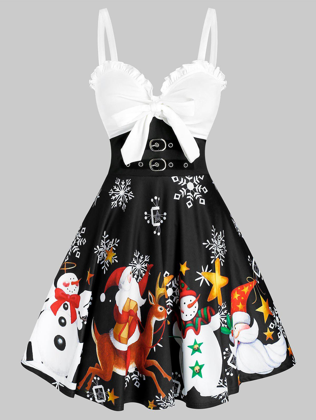 Ruffle Bowknot Snowman Pattern Colorblock Dress - multicolor A XL