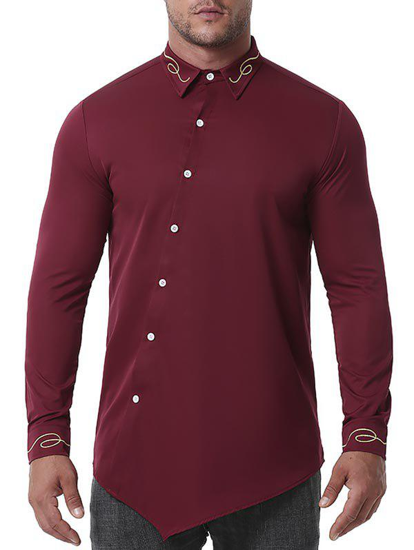 Metallic Embroidered Asymmetrical Button Down Shirt - RED WINE L
