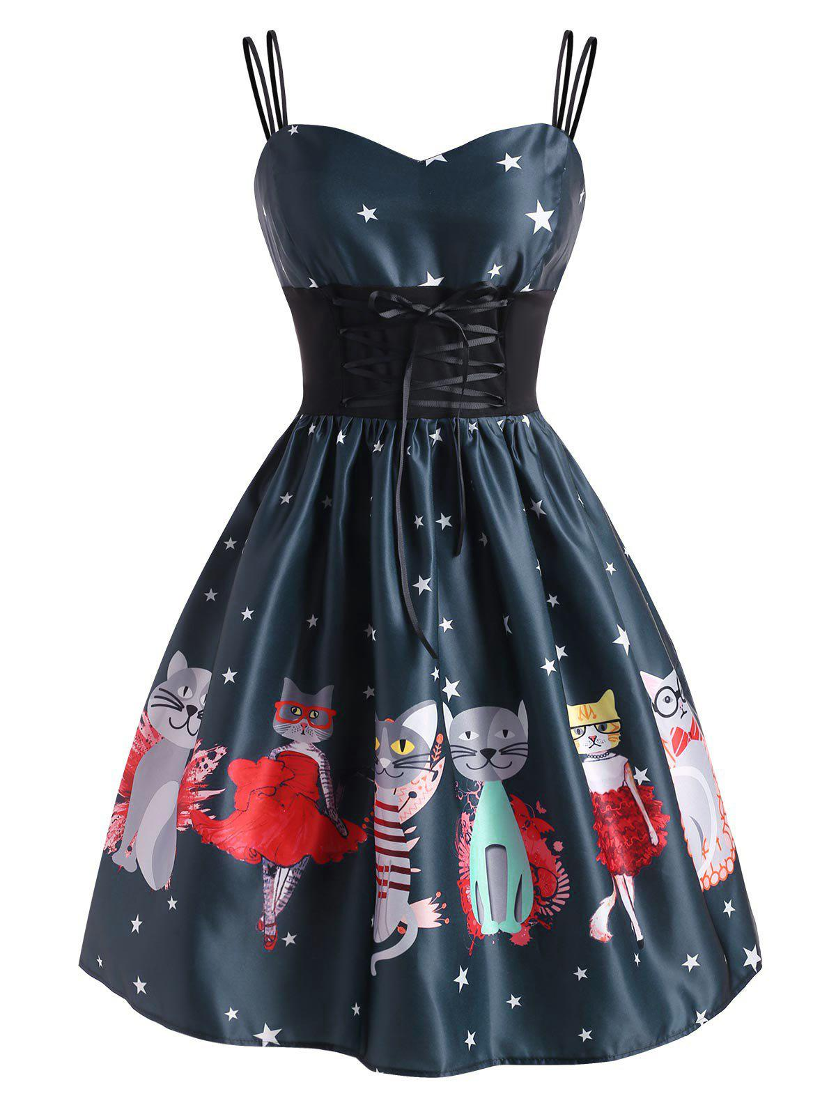 Dual Strap Lace-up Funny Cat Stars Flared Dress - multicolor L