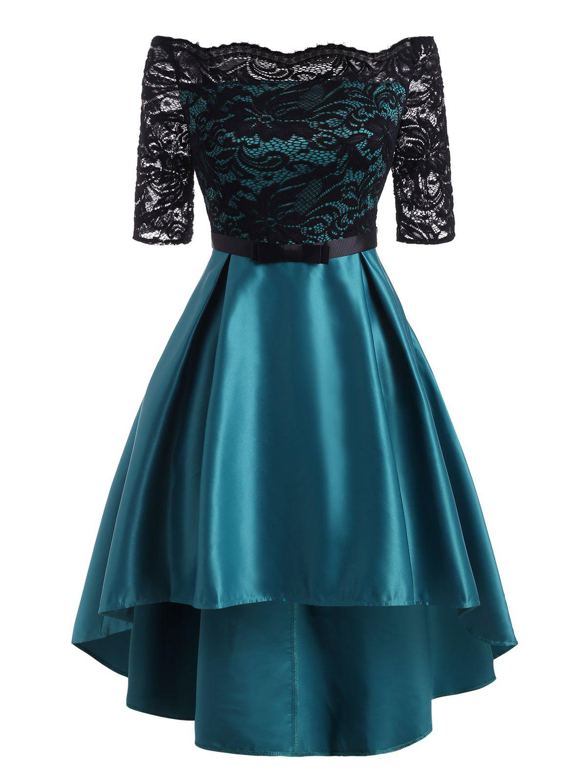 Off Shoulder Lace High Low Sheer Party Dress - GREEN XL