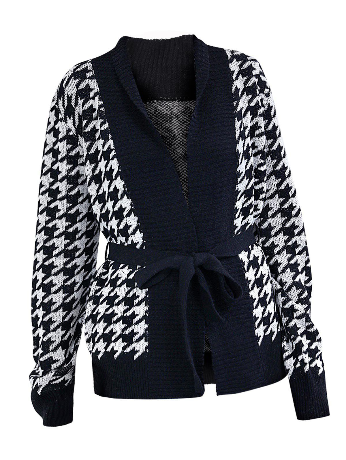 Houndstooth Wrap Cardigan - BLACK S