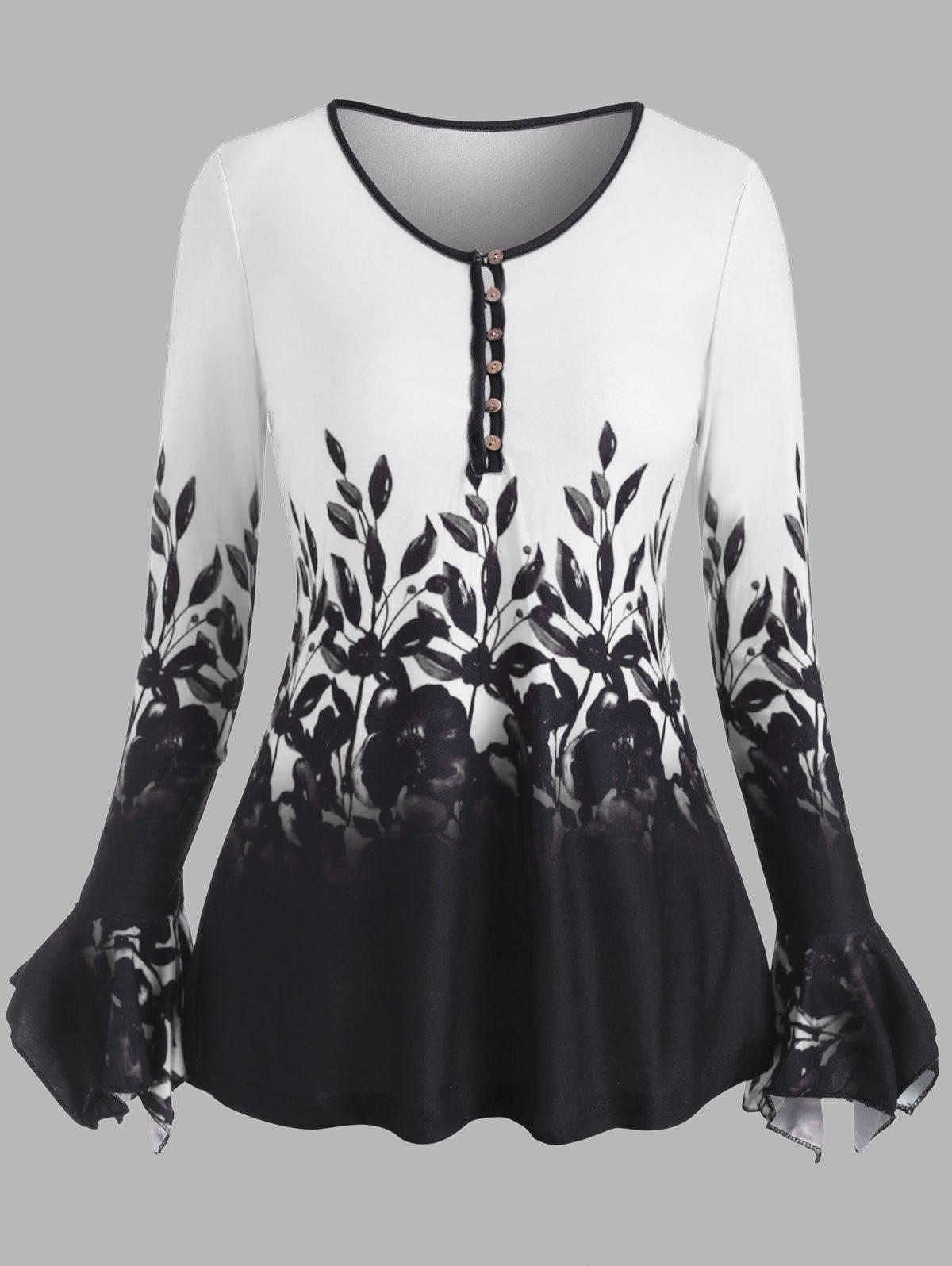 Poet Sleeve Flower Pattern Button Loop Top - WHITE M