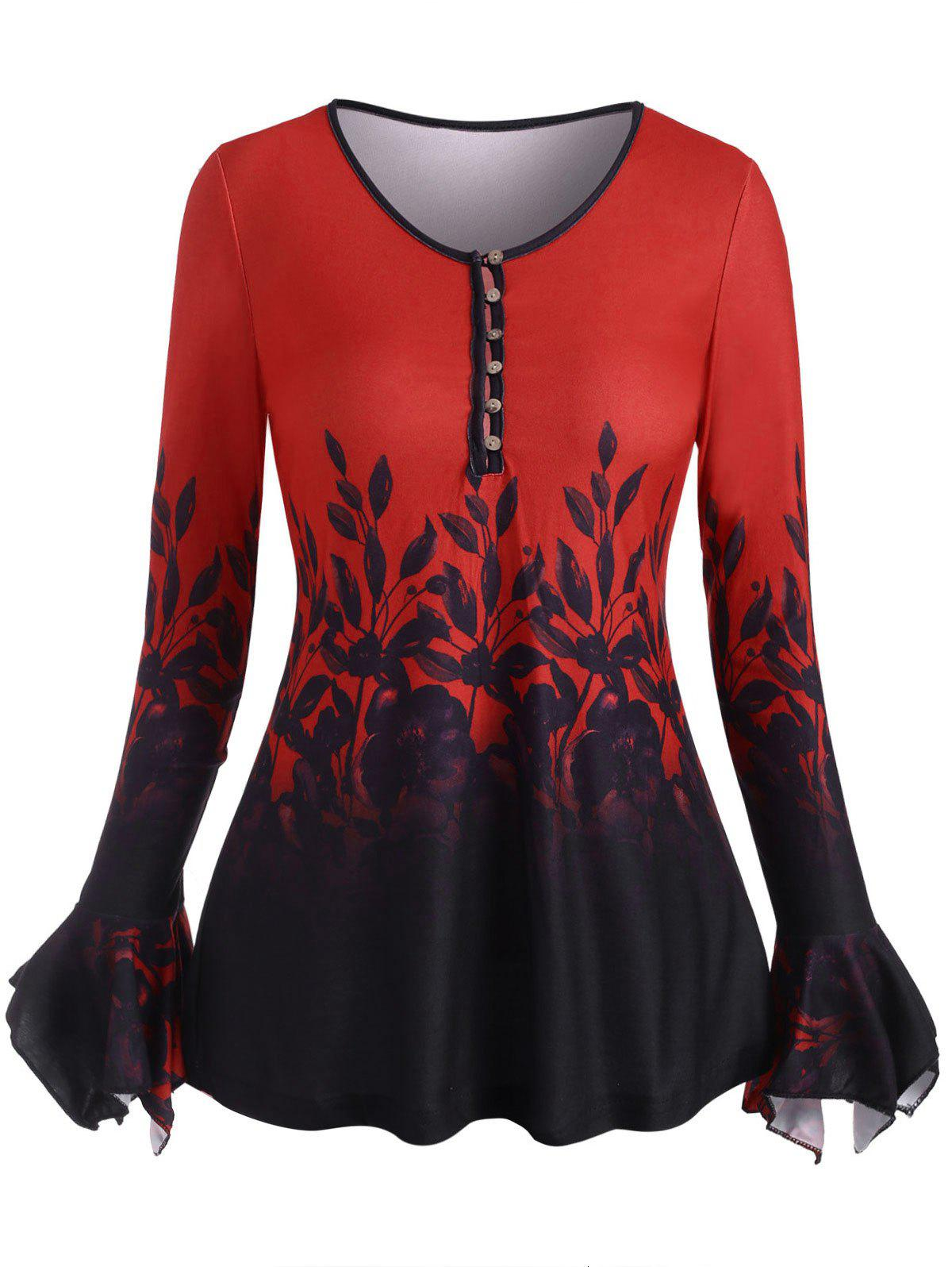 Poet Sleeve Flower Pattern Button Loop Top - RED M