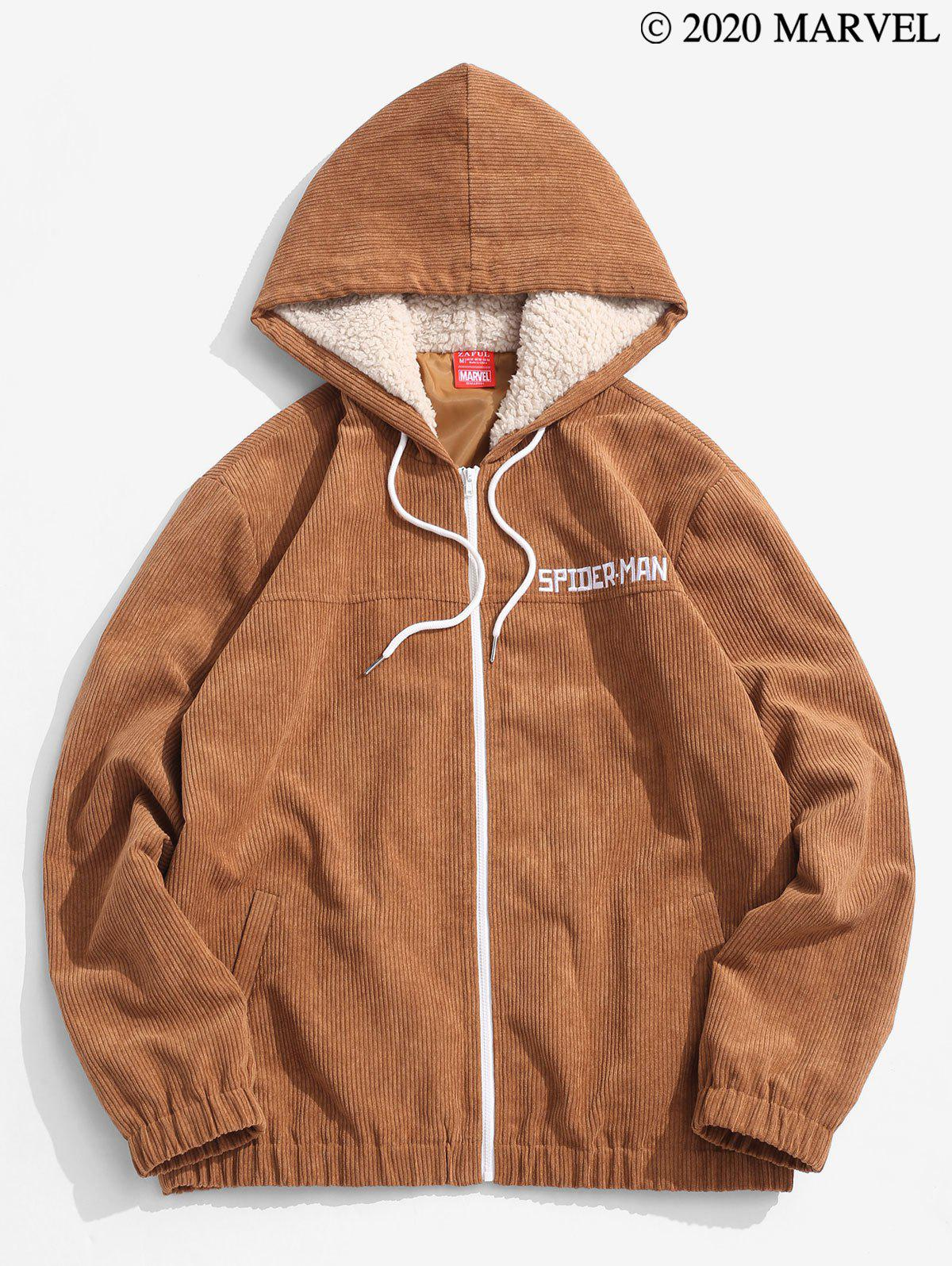 Marvel Spider-Man Embroidery Faux Fur Hooded Corduroy Jacket - CAMEL BROWN 2XL
