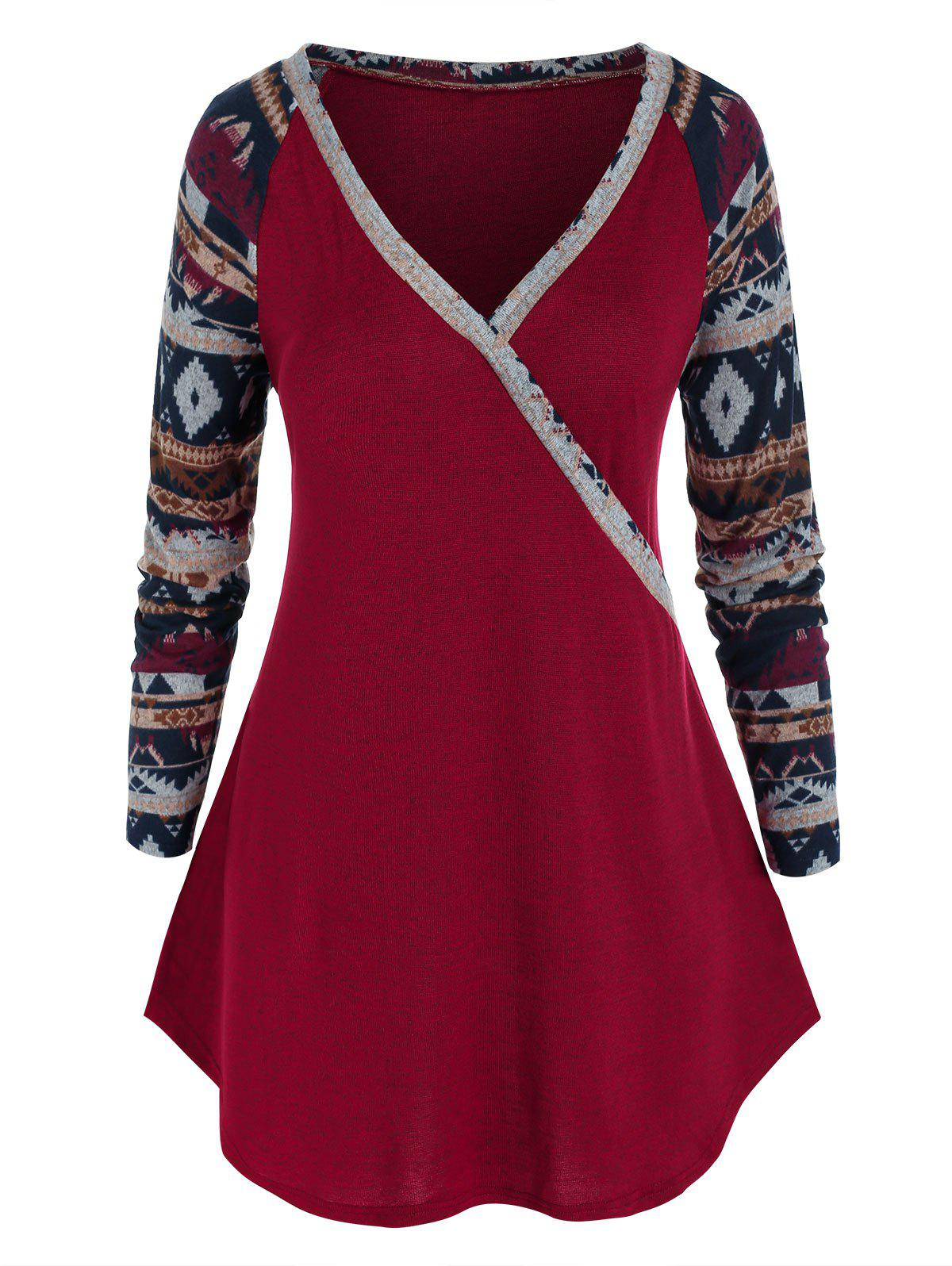 Plus Size Aztec Print Long Sleeve Knitted Tunic Tee - RED 5X