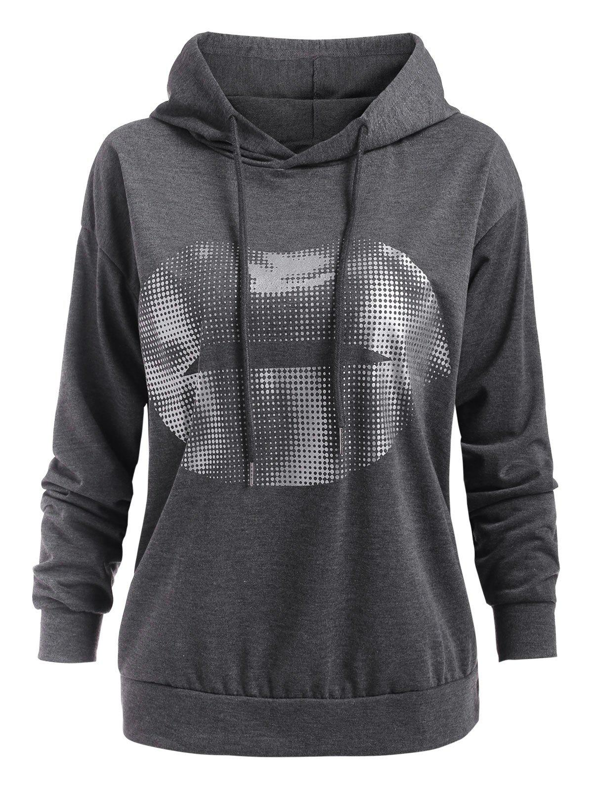 Foil Dot Lip Graphic Drawstring Hoodie - GRAY 2XL