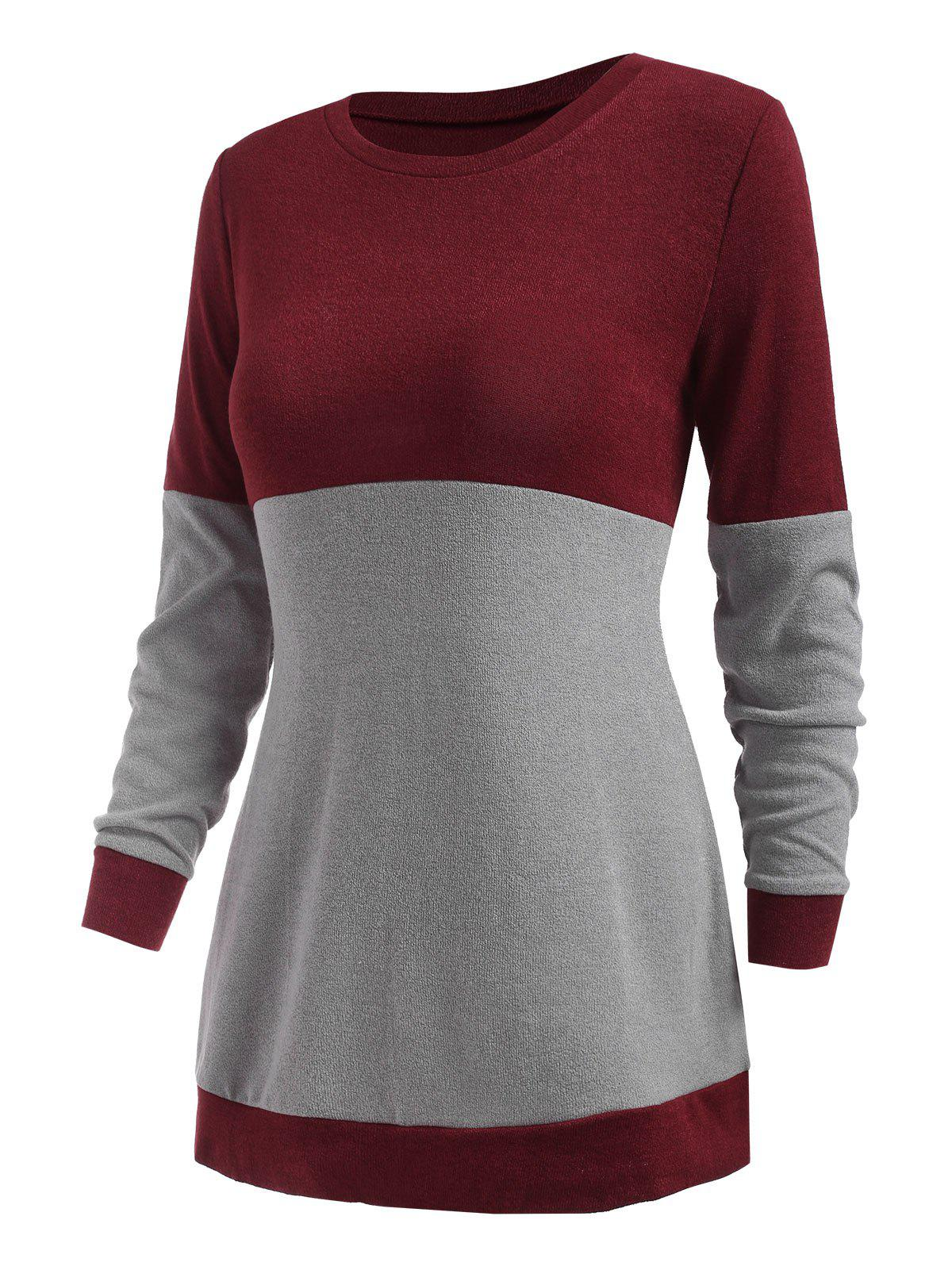 Two Tone Bicolor Tunic Knitwear - RED XL
