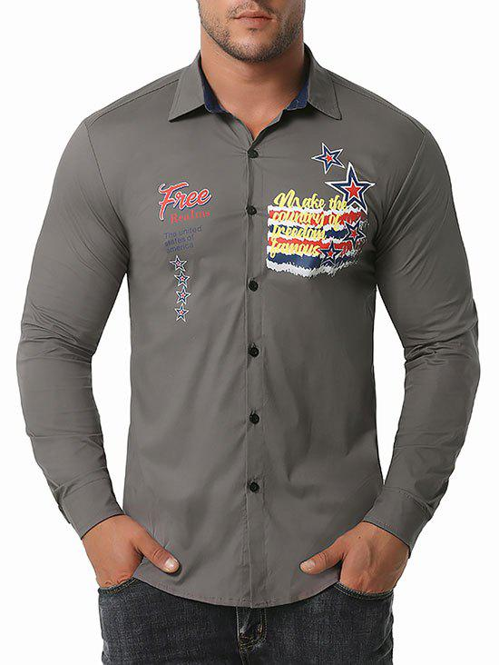 Free Graphic Print Button Up Shirt - GRAY S