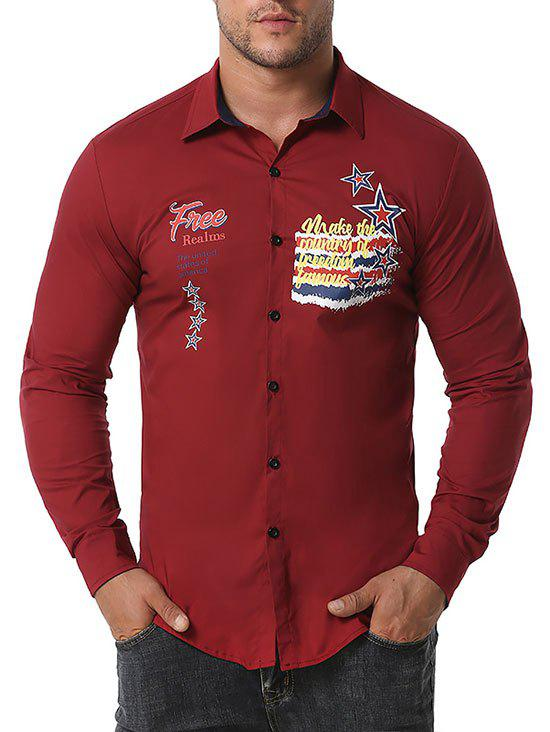 Free Graphic Print Button Up Shirt - RED WINE L