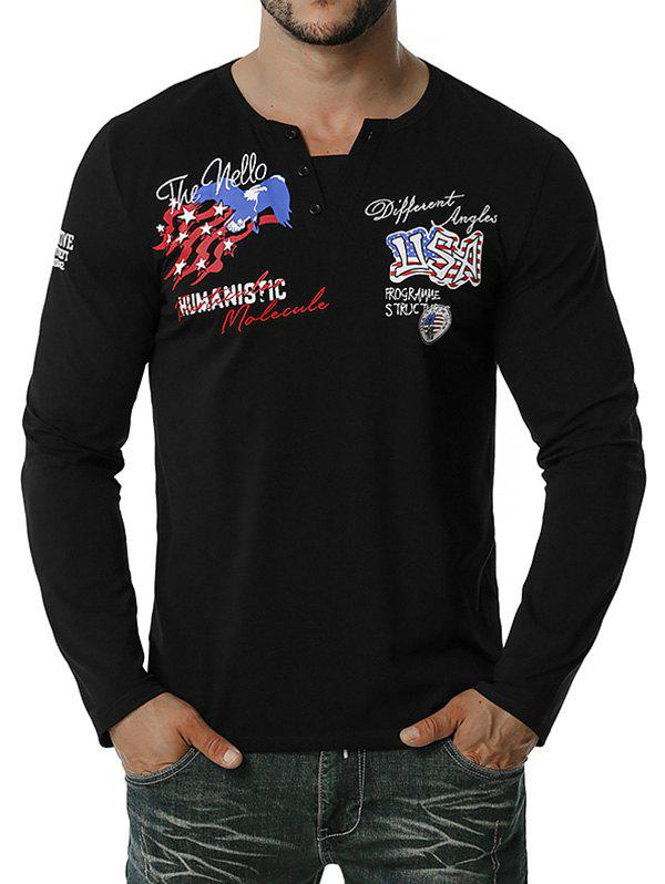 American Flag Letter Embroidered Henley T-shirt - BLACK L