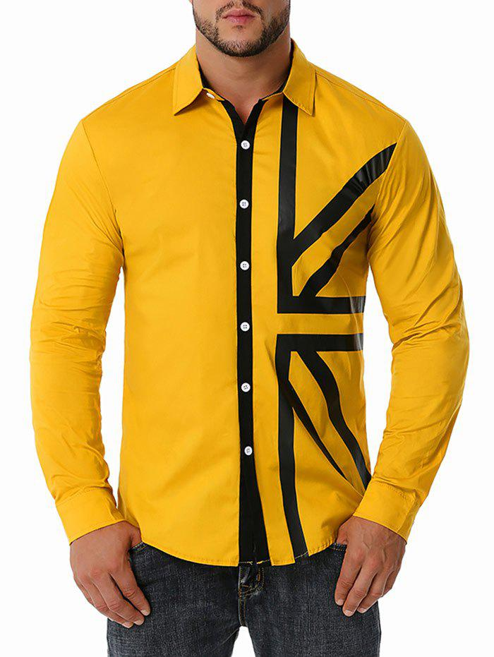 Button Up Contrast UK Flag Print Shirt - YELLOW S