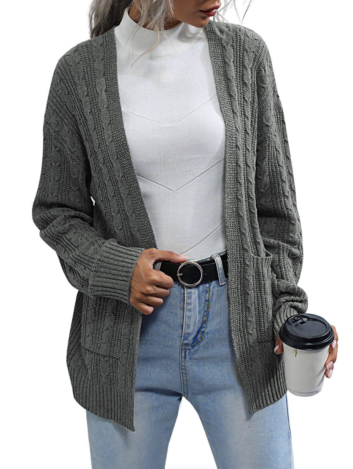 Cable Knit Open Cardigan - GRAY M