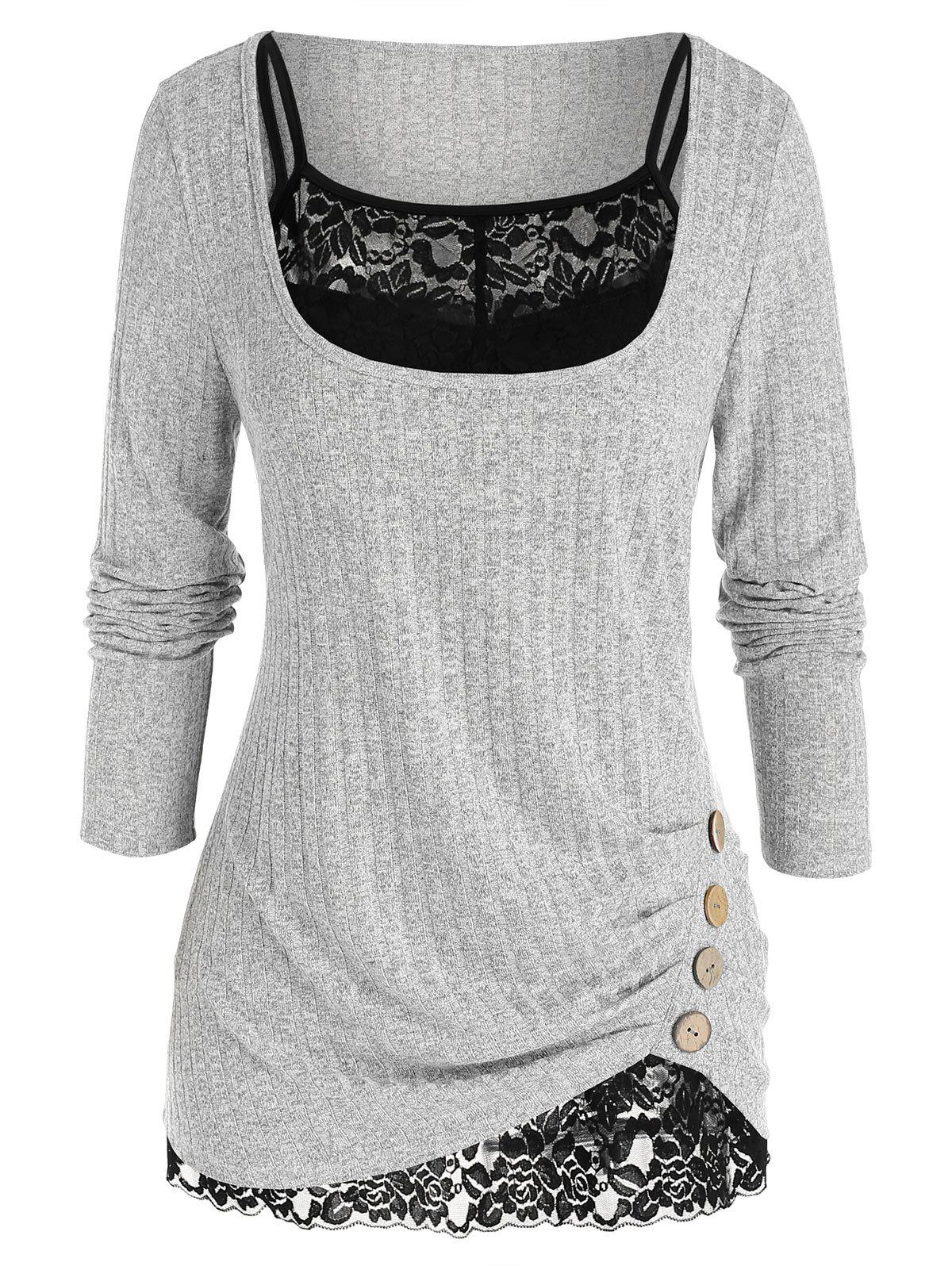 Plus Size Ruched U Neck Sweater with Lace Cami Top Set - LIGHT GRAY L