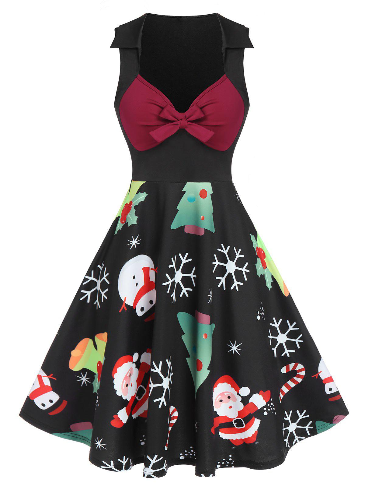 Christmas Tree Santa Claus Snowflake Print Sleeveless Dress - BLACK M