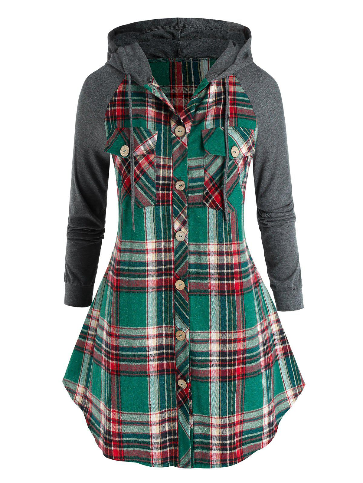 Plus Size Hooded Plaid Flap Pocket Curved Hem Blouse - SEA GREEN 5X