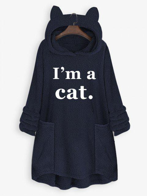 Plus Size Cat Ear Letter Print High Low Plush Hoodie