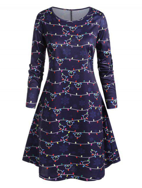 Plus Size String Lights and Snowflake Print Dress