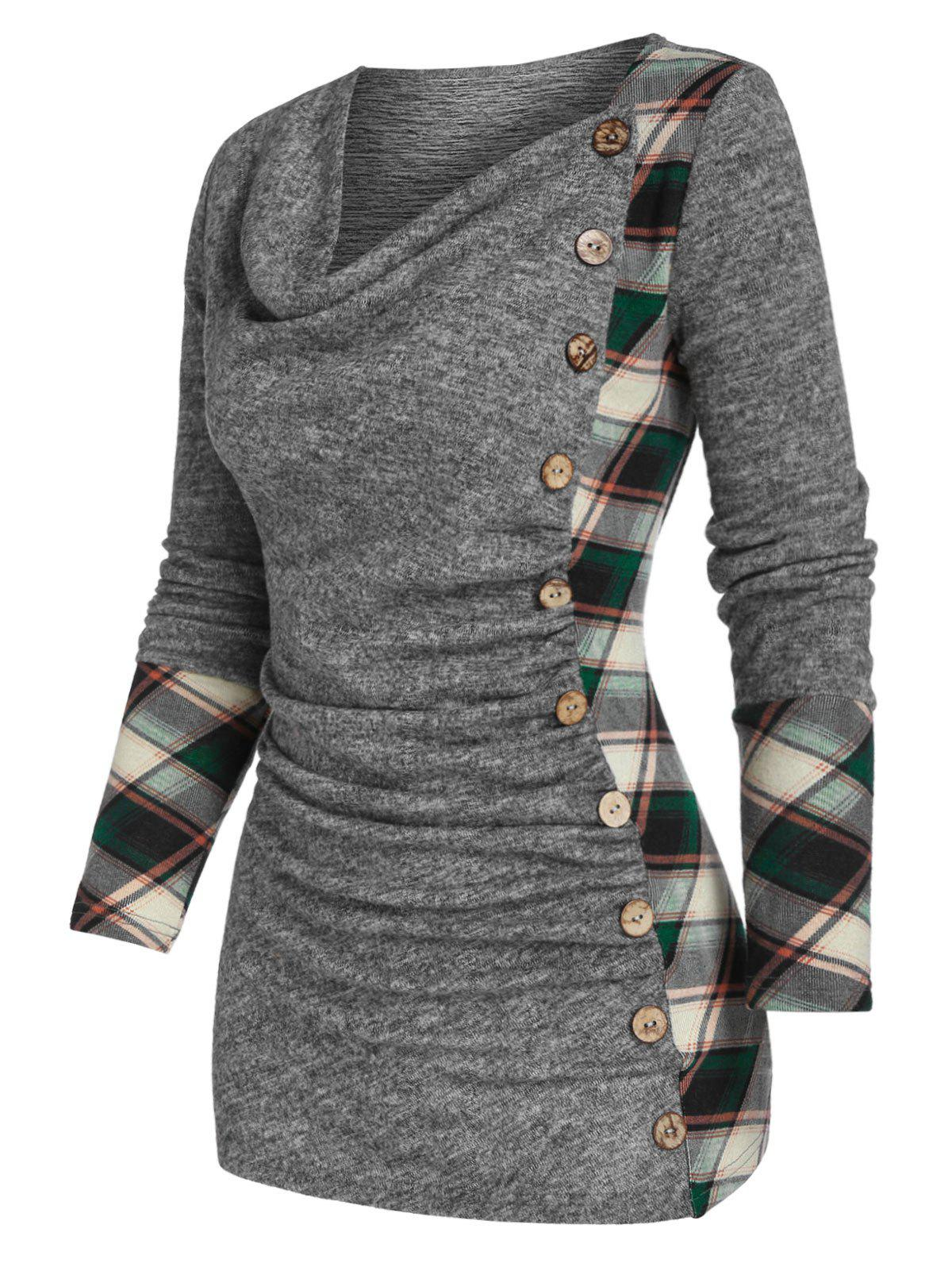 Cowl Neck Checked Panel Ruched Knitted T Shirt - ASH GRAY M