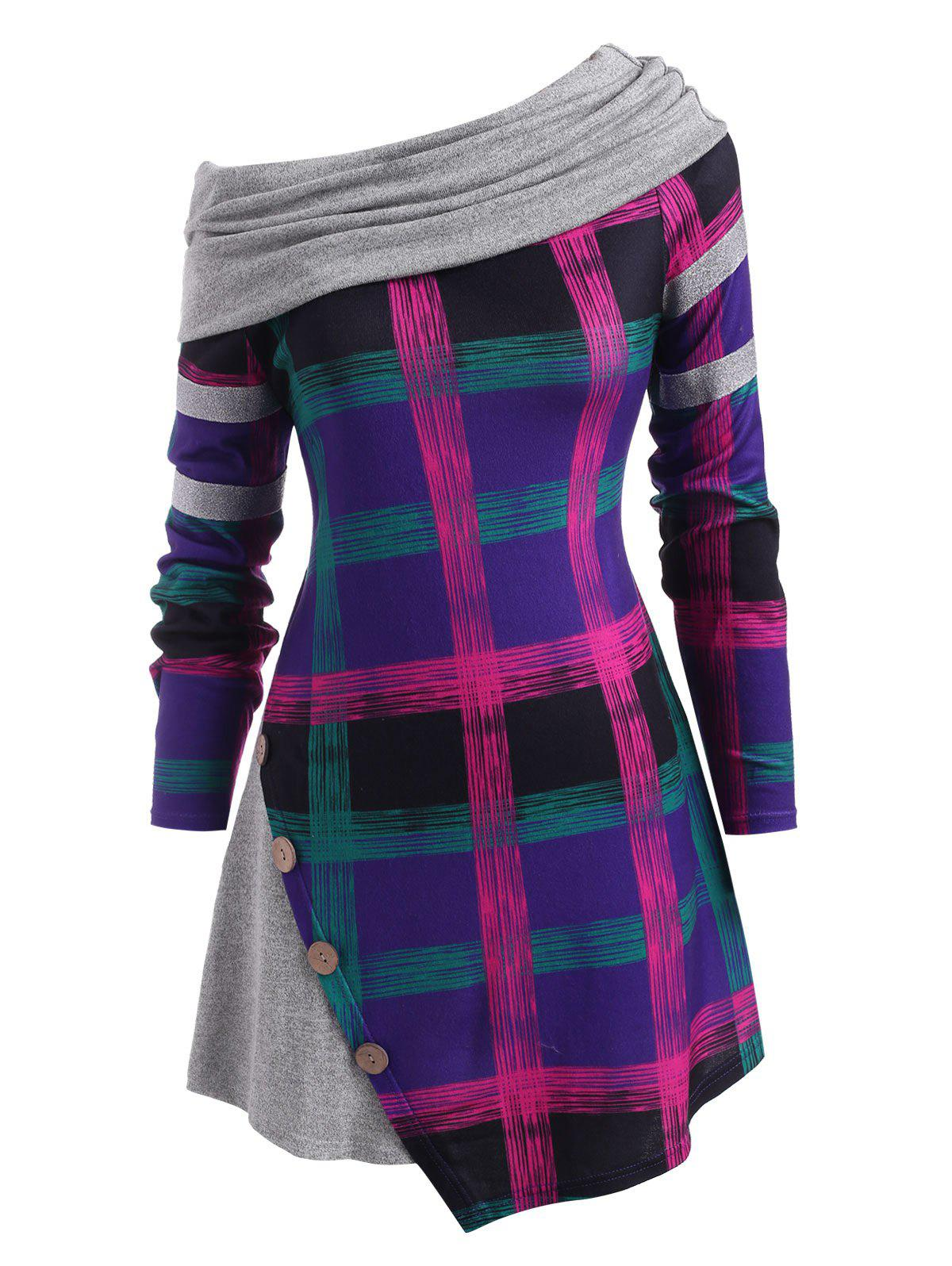 Plaid Mock Buttons Glitter Panel Plus Size Top - PURPLE 2X
