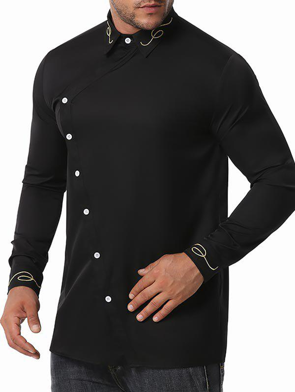 Button Up Lines Embroidered Shirt - BLACK XXL
