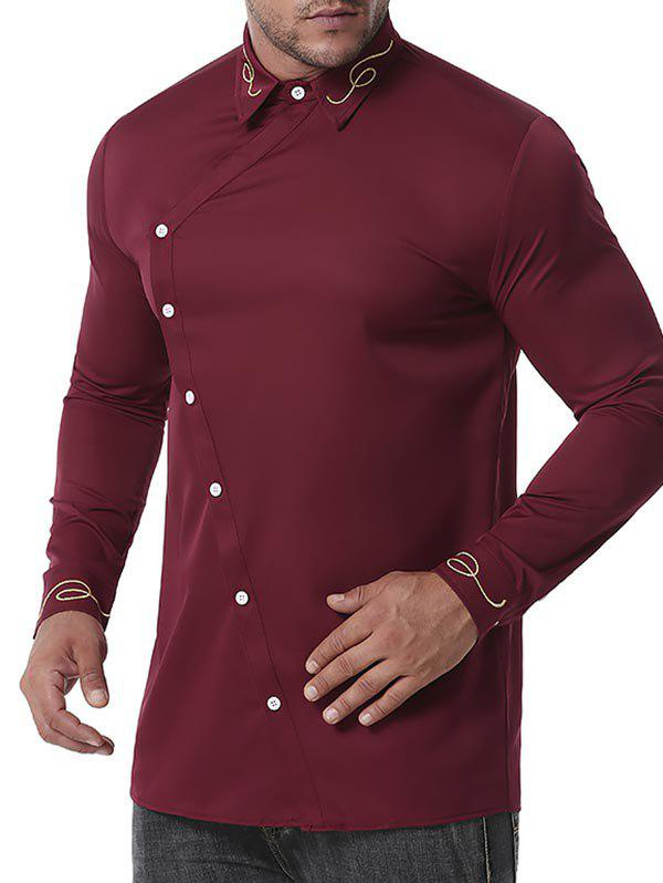 Button Up Lines Embroidered Shirt - RED WINE XXL