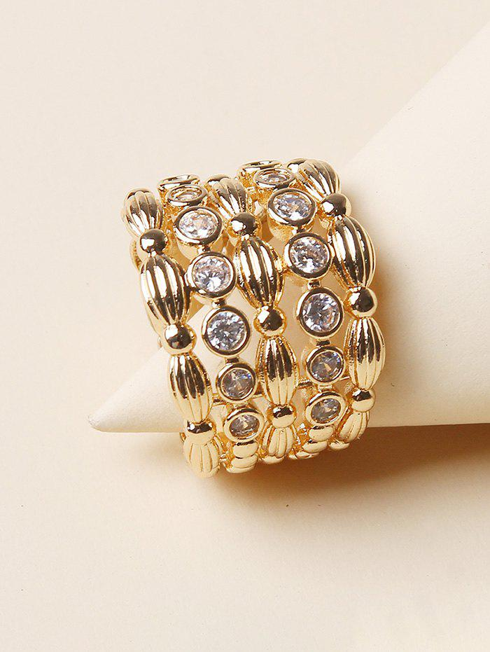 Rhinestone Hollow Out Wide Band Ring - GOLDEN