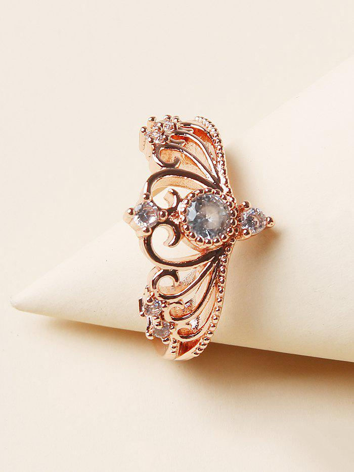 Rhinestone Crown Shape Hollow Out Ring - GOLDEN