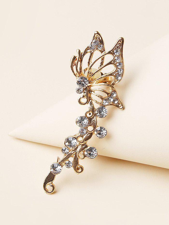 Hollow Butterfly Rhinestone Stud Earring - GOLDEN