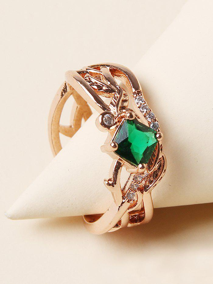 Rhinestone Leaf Branch Pattern Hollow Out Ring - GOLDEN
