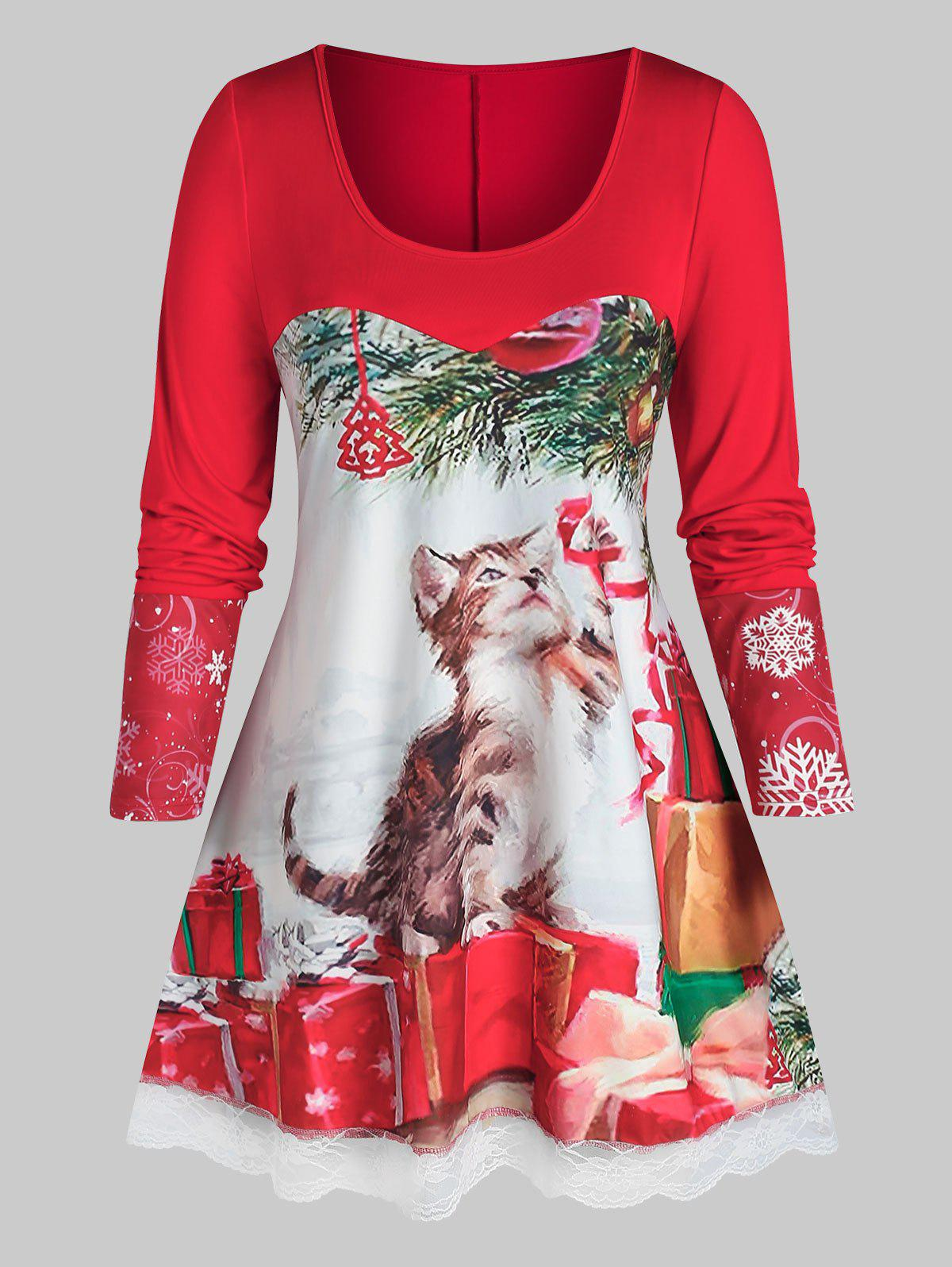 Plus Size Christmas Cat Gift Print Lace Panel Tunic Tee - RED 2X