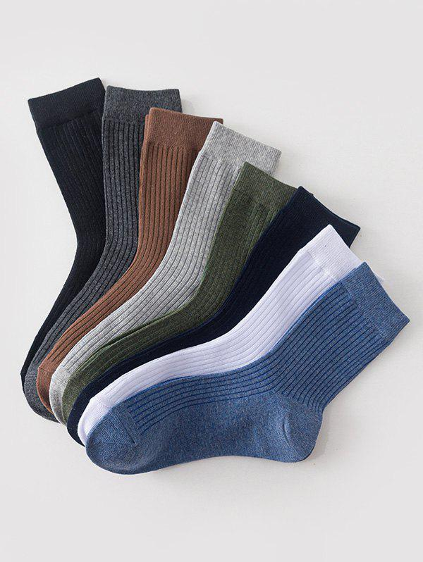 8 Pairs Classic Cotton Solid Socks Set - multicolor A