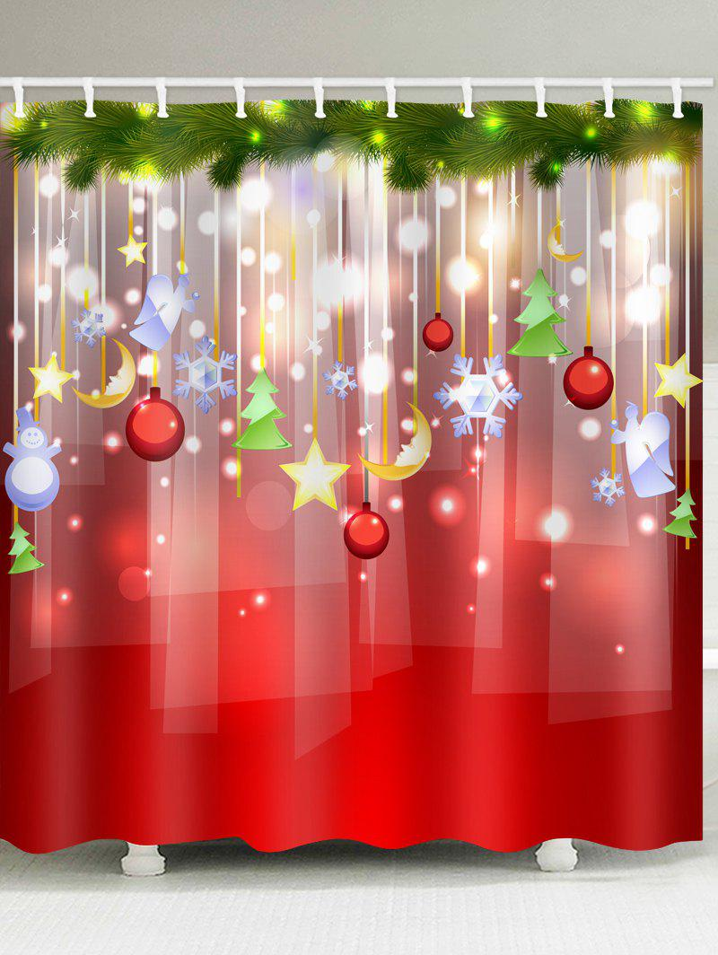 Christmas Ball Decorations Print Waterproof Shower Curtain - BEAN RED W59 X L71 INCH