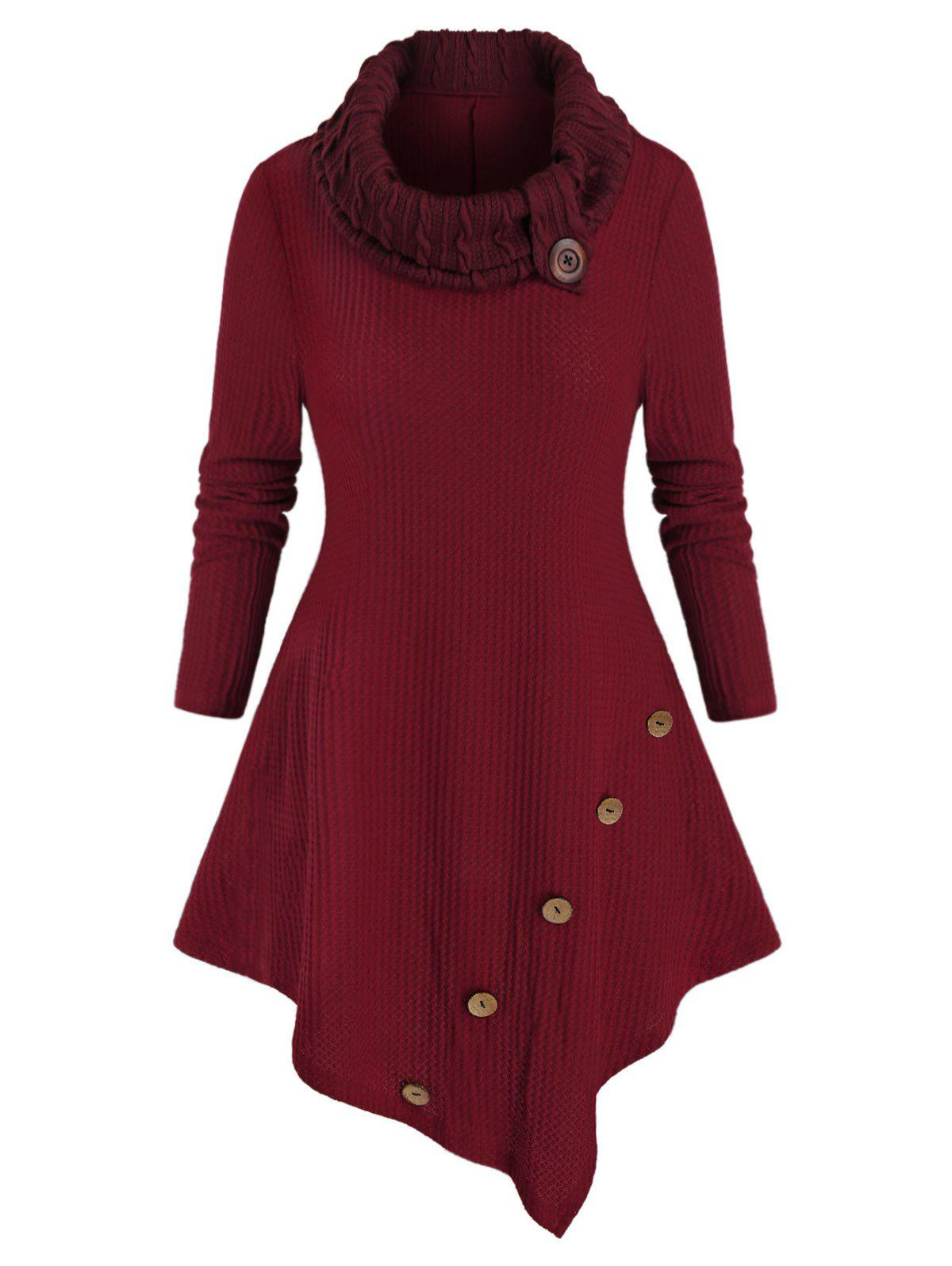 Plus Size Uneven Hem Turtleneck Knit Sweater - RED WINE 3X