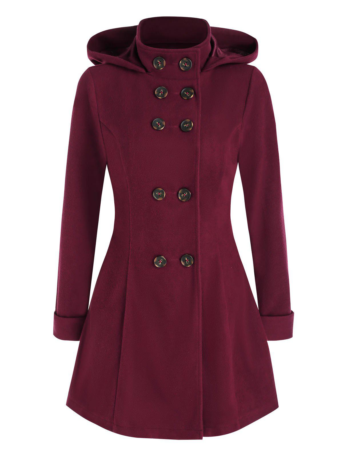 Double Breasted Hooded Wool Blend Coat - RED WINE XL