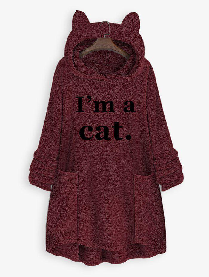 Plus Size Cat Ear Letter Print High Low Plush Hoodie - DEEP RED 4XL