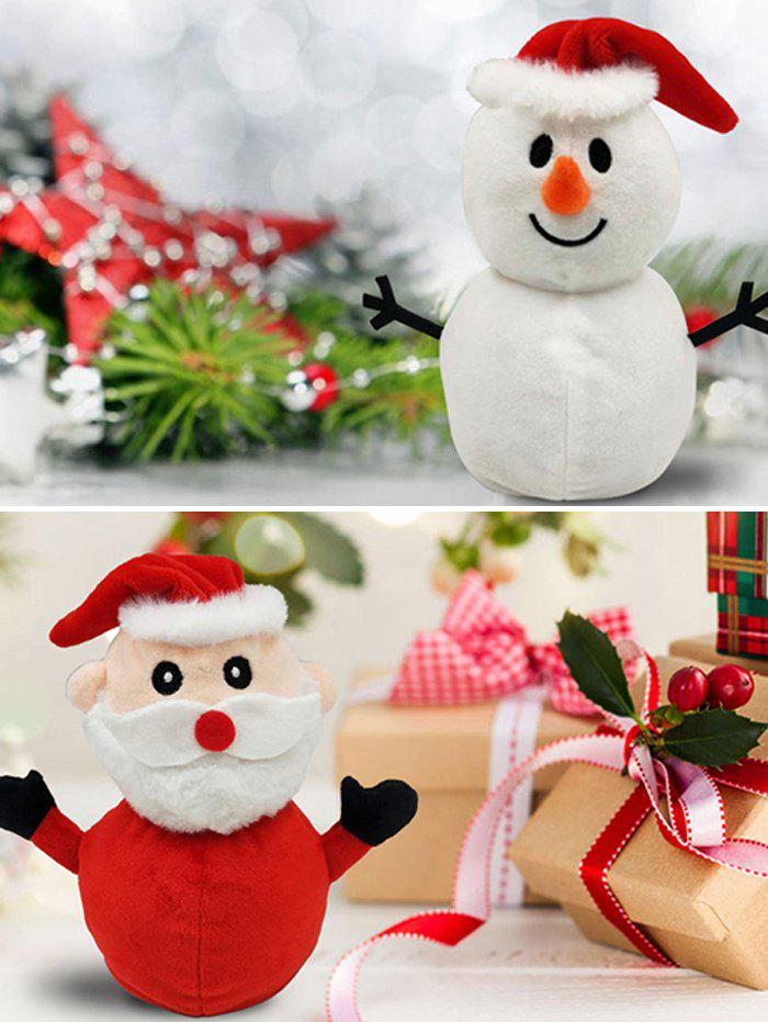 Christmas Gift Santa Snowman Flip Transform Plush Toy - multicolor