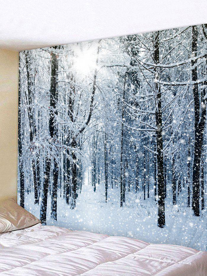 Christmas Snow Forest Print Tapestry Wall Hanging Art Decoration - BLUE GRAY W59 X L51 INCH
