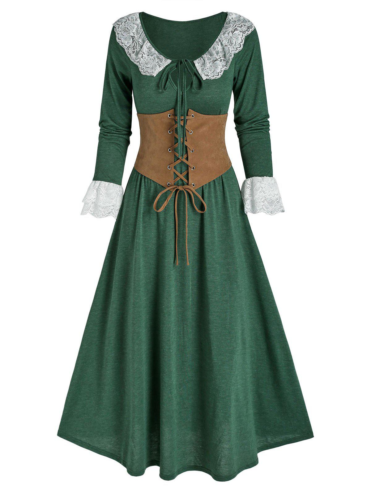 Lace Insert Bowknot Heathered Dress and Lace-up Corset - DEEP GREEN 2XL