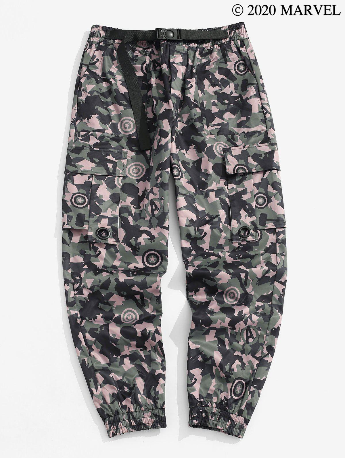 Marvel Spider-Man Camouflage Print Tapered Cargo Pants - WOODLAND CAMOUFLAGE XL