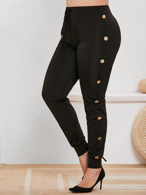 Plus Size Mock Button Drawstring Tapered Sports Pants