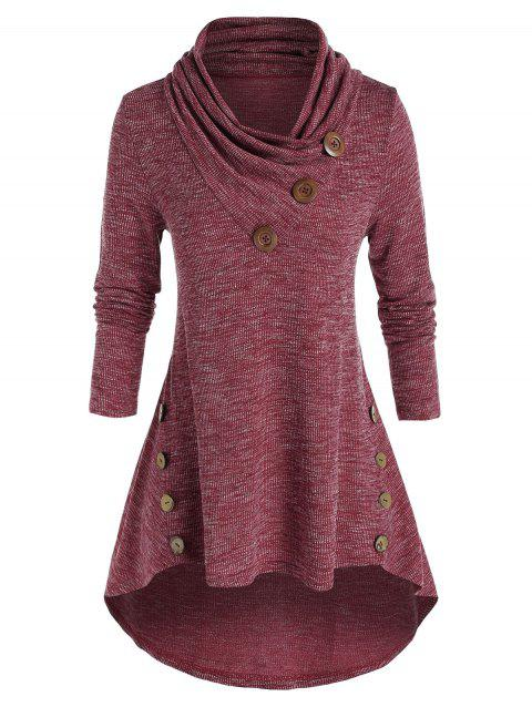 Plus Size Shawl Collar High Low Knitted T Shirt