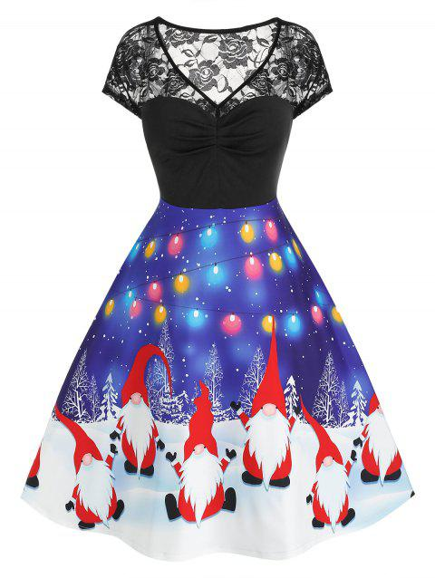 Plus Size Santa Snow Print Lace Panel Dress