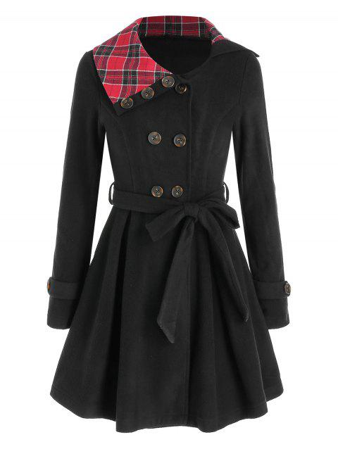 Plaid Double Breasted Crossover Skirted Coat